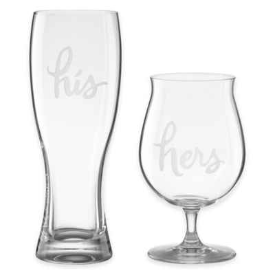 "kate spade new york Two of a Kind™ ""His"" & ""Hers"" Beer Glasses (Set of 2)"