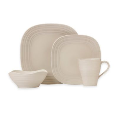 Mikasa® Swirl Square 4-Piece Place Setting in Cream  sc 1 st  Bed Bath u0026 Beyond & Buy Mikasa Square Dinnerware Set from Bed Bath u0026 Beyond