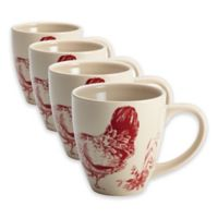 BonJour® Dinnerware Chanticleer Country Mugs in Burgundy (Set of 4)