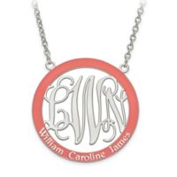 Sterling Silver Laser-Cut Elegant Letters Enamel Family Circle Pendant Necklace in Coral