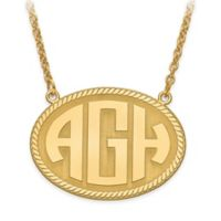 10K Yellow Gold 18-Inch Chain Block Letters Medium Oval Plate Pendant Necklace