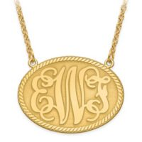 10K Yellow Gold 18-Inch Chain Elegant Letters Medium Oval Plate Pendant Necklace