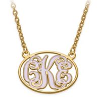 14K Gold-Plated Sterling Silver 18-Inch Chain Small Enamel Oval Script Letters Pendant Necklace
