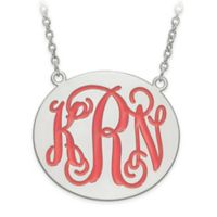 Sterling Silver Enamel Engraved Script Letters 18-Inch Chain Large Round Plate Pendant Necklace