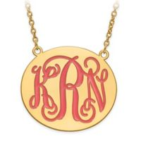 Gold-Plated Sterling Silver Enamel Engraved Script Letters Large Round Plate Pendant Necklace