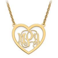 10K Yellow Gold Elegant Script Letters 18-Inch Small Chain Open Heart Pendant Necklace
