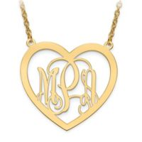10K Yellow Gold Elegant Script Letters 18-Inch Chain Large Open Heart Pendant Necklace