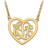 10K Yellow Gold Etched Elegant Script Letters Small Open Heart Pendant Necklace