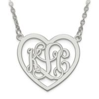 10K White Gold Etched Elegant Script Letters Small Open Heart Pendant Necklace