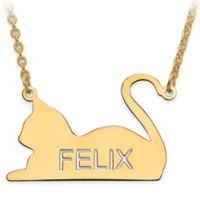 14K Gold-Plated Sterling Silver Laser-Cut Block Letters Laying Cat Silhouette Pendant Necklace