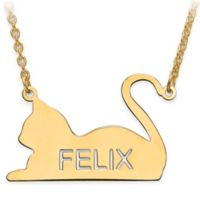14K Yellow Gold Laser-Cut Block Letters 18-Inch Chain Laying Cat Silhouette Pendant Necklace