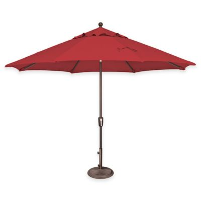 SimplyShade® Catalina 11 Foot Octagon Aluminum Push Button Tilt Market  Umbrella In Jockey Red
