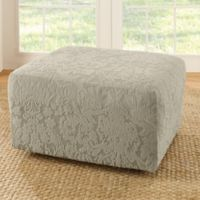 Sure Fit® Stretch Jacquard Damask Ottoman Slipcover in Sage
