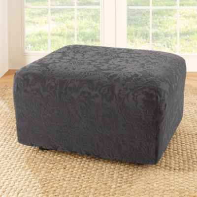 Sure Fit® Stretch Jacquard Damask Ottoman Slipcover