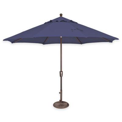 SimplyShade® Catalina 11 Foot Push Button Tilt Octagon Aluminum Solefin  Umbrella In Sky Blue