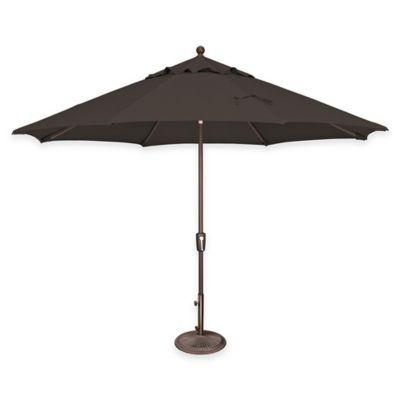 simplyshade catalina 11 foot push button tilt octagon aluminum solefin umbrella in black - Black Patio Umbrella