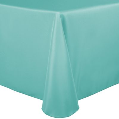 Basic Polyester 90 Inch X 132 Inch Oblong Tablecloth In Aqua