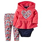 carter's Size 6M 3-Piece Heart Floral French Terry Peplum Hoodie, Bodysuit, and Pant Set