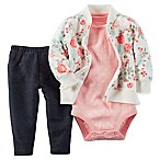carter's® Size 6M 3-Piece Rose Print French Terry Jacket, Bodysuit, and Pant Set in Pink/Green