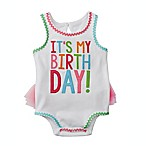 "Mud Pie® Size 12M ""It's My Birthday!"" Ruffled Tank Top Bodysuit in White/Multicolor"