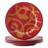 Rachael Ray™ Gold Scroll Salad Plates in Cranberry (Set of 4)