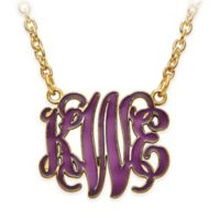 Gold-Plated Sterling Silver X-Small Laser-Cut Enamel Script Letters Pendant Necklace
