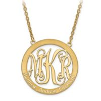 10K Yellow Gold Laser-Cut Elegant Letters 18-Inch Chain Family Circle Pendant Necklace