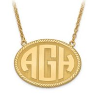 14K Yellow Gold 18-Inch Chain Block Letters Medium Oval Plate Pendant Necklace