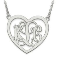 10k White Gold Etched Elegant Script Letters Large Open Heart Pendant Necklace