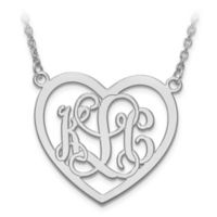 14K White Gold Large Elegant Script Letters 18-Inch Chain Open Heart Pendant Necklace