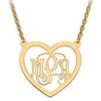 14K Gold-Plated Sterling Silver SElegant Script Letters Small Open Heart Pendant Necklace