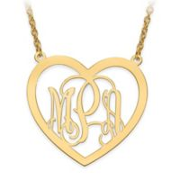 14K Gold-Plated Sterling Silver Elegant Script Letters Large Open Heart Pendant Necklace