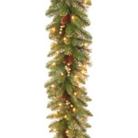 National Tree Glittery Gold Pine 9-Foot Garland with Clear Lights