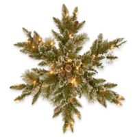 National Tree Company 32-Inch Glittery Bristle Pine Snowflake with Warm White Lights