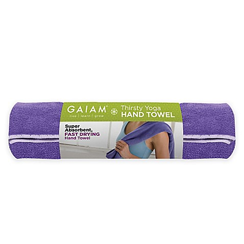 Gaiam 174 Thirsty Yoga Hand Towel In Fuchsia And Grey Bed