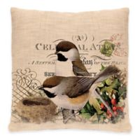 Heritage Lace® Winter Garden Chickadees Square Throw Pillow in Natural
