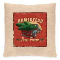 """Heritage Lace® Signs of Christmas """"Homestead Tree Farm"""" Square Throw Pillow"""