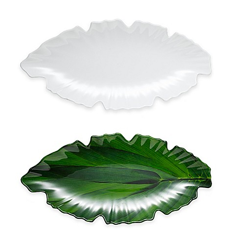 image of Q Squared Zen Leaf Platter in White