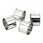 Classic Touch Tervy Stainless Beaded Napkin Rings (Set of 4)