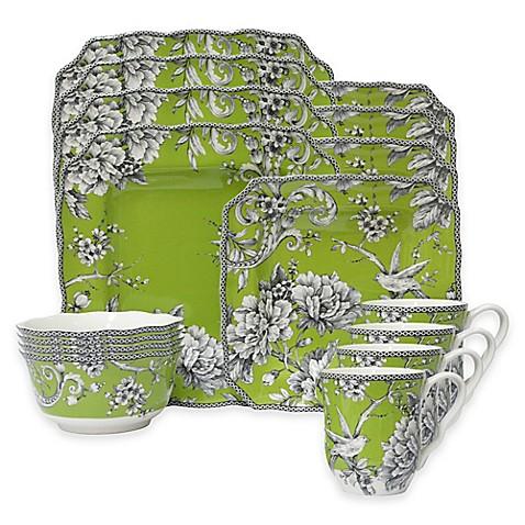 222 Fifth Adelaide 16-Piece Dinnerware Set in Green - Bed Bath & Beyond