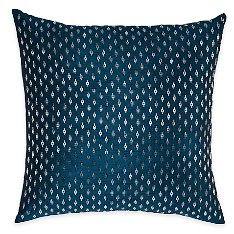 Blue Beaded Throw Pillow : Rizzy Home Beaded Pattern Square Throw Pillow in Blue - Bed Bath & Beyond