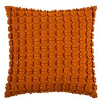 Rizzy Home Hand-Sewn Felt Circle Square Throw Pillow in Orange