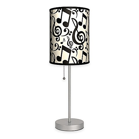 Musical Notation Table Lamp in Silver with Fabric Shade ...