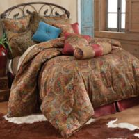 HiEnd Accents San Angelo Twin Comforter Set with Red Faux Leather Bed Skirt