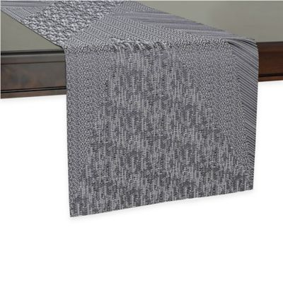 Elegant Kenneth Cole Reaction Home Spruce 90 Inch Table Runner In Black/White