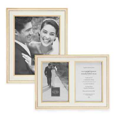 Reed & Barton Luxe Collection Facets Picture Frame in White/Gold