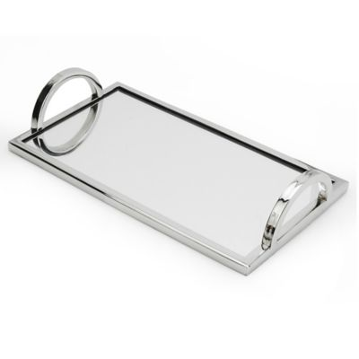 Classic Touch Relic Small Mirrored Tray In Silver
