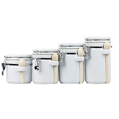 Home Basics 4 Piece Ceramic Canister Set With Spoons In