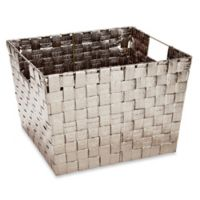 Large Woven Storage Tote in Metallic Gold