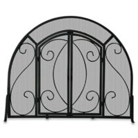 UniFlame® S-1062 Black Wrought Iron Single-Panel Fireplace Screen with Doors